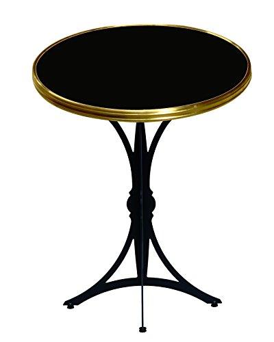 Table Guéridon d'intérieur Bistrot moderne Rd60cm Noir Cerclé Laiton