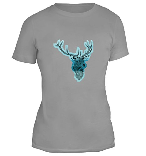 Mesdames T-Shirt avec Deer Head with Horns with Mountains Background Illustration imprimé. Gris