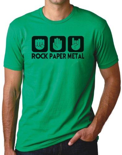 OM3 - ROCK PAPER METAL - T-Shirt STEIN PAPIER SCHERE HARDROCK HEAVY, S - 5XL Grün