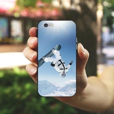 Apple iPhone X Silikon Hülle Case Schutzhülle Snowboard Schnee Berg Silikon Case schwarz / weiß
