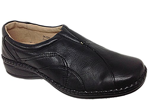 Ladies Ganstead Cushion Walk Black Faux Leather Slip On Flat Loafer Shoes...