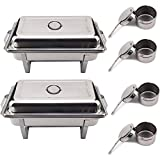 KingSaid Pack Of 2 Stainless Steel Chafing Dish Sets With 9L Food Pans