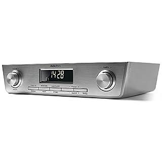 AudioAffairs KCR 010 SV UKW FM Unterbau-Radio Küchenunterbauradio mit LED Licht, Unterschrank-Küchenradio und Back-Timer, Eieruhr Silber