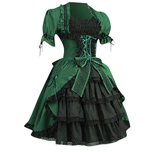 Kostüm Beach Retro Party - Aoogo Mode Frauen Vintage Gothic Court Square Kragen Patchwork Bow Kleid Cosplay Fantasy Gothic Kopfbügel Kostüm Retro Party Princess Renaissance Kleider