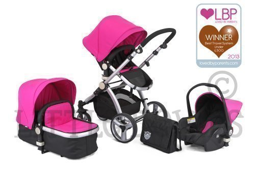 BLACK & PINK CARRERA SPORT 3-in-1 Baby Travel System/Pushchair/Pram/Buggy/Stroller 416EqfSktAL