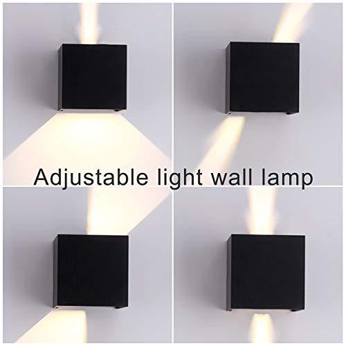 TVGO – Lampada da parete per interni/esterni, moderna, illuminazione LED da parete con angolo di irradiazione regolabile, IP 65, impermeabile, 3000 K, luce bianca calda (7W nero), alluminio, 7 W - 3