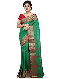 Wooden Tant Green Cotton Handloom Saree