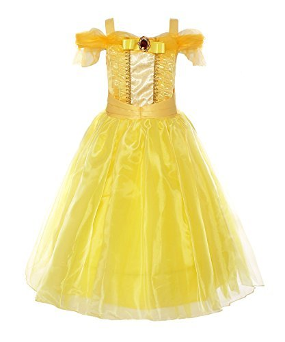 ReliBeauty Mädchen Kleider Belle Kostüm Prinzessin Kleid Off Shoulder Schulterfrei Falten Volant Rock Cosplay Verkleidung, Knöchellang, Gelb, 120