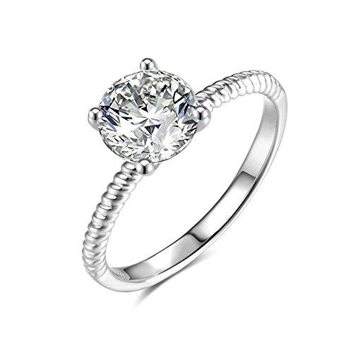 (Custom Ringe)Adisaer Ring 925 Sterling Silber Damen Vier Klaue Kristall CZ Graviert Muster Verlobungsring Größe 65 (20.7) Kostenlos Gravur (Pharao Kostüm Muster)