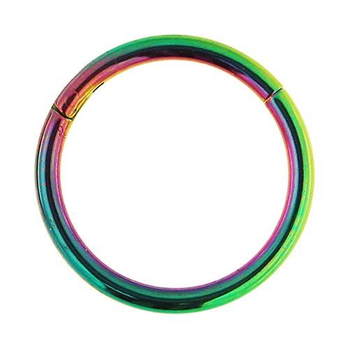 16 Gauge - 9MM Durchmesser Rainbow eloxiert chirurgischen Stahl klappbar Segment Nase Ring Septum Piercing-Schmuck