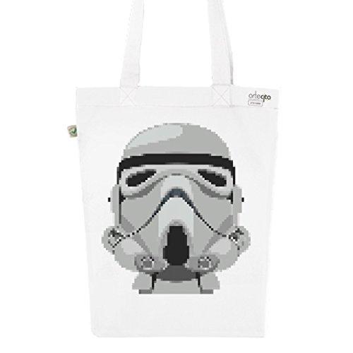 Tote Bag Blanc Imprimé - Toile en Coton Bio - Stormtrooper pixelisé