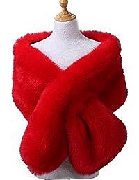Skipo Mode féminine solide manteau chaud enveloppes cape fausse fourrure  châle Echarpes b73559142d0