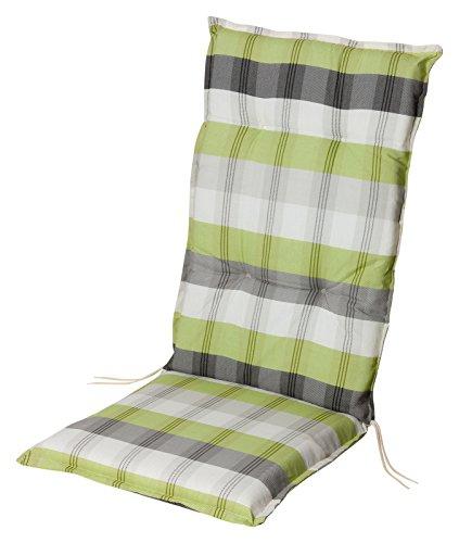 Stuhlauflage Hochlehner Gartenstuhlauflage Sitzauflage in 2 Farben ca. 8cm dick (grün-grau)