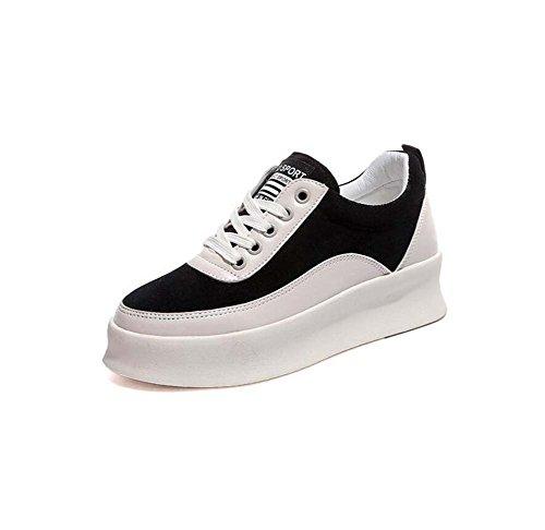 MYI Chaussures de Sport Plat des Femmes Confortables Chaussures Décontractées Sauvages antidérapantes Chaussures de Course Noir/Blanc Taille 35-39