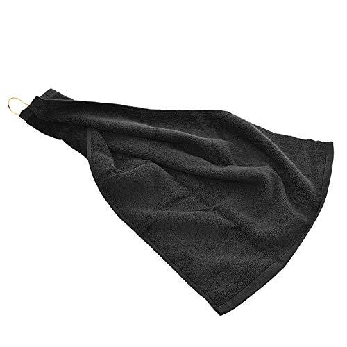 Dandeliondeme Badetuch mit Clip, 40 x 60 cm, wasserabsorbierend, dreifach faltbar, Baumwolle, Golfball-Design, mit Clip, für Küche, Badezimmer, Wand, Schränke, schwarz