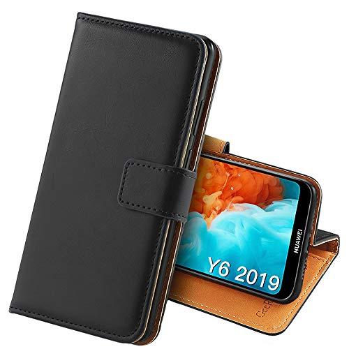 GeeRic Für Huawei Y6 2019 Hülle, [Standfunktion] [Kartenfach] [Magnet] [Anti-Rutsch] PU-Leder Schutzhülle Brieftasche Handyhülle für Huawei Y6 2019 Schwarz