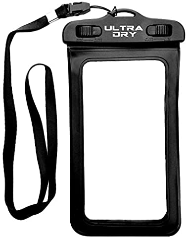 Ultra Dry Universal Waterproof Case Bag, Perfect for Boating / Kayaking / Rafting / Swimming, ideal for Apple iPhone 6S, 6, 5S, 5C, 5; Galaxy S6, S4, S3; HTC One X, Galaxy Note 3, Note 2, Protects from Sand, Dust and Dirt, IPX8