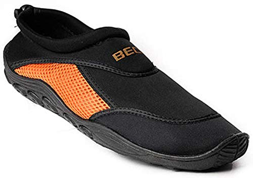 BECO Surfschuhe Badeschuhe Herren Aquaschuh Beachschuh schwarz/orange Gr 41