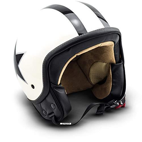 SOXON SP-301-STAR Creme Motorrad-Helm Roller-Helm Jet-Helm Bobber Scooter-Helm Pilot Cruiser Vintage Mofa Chopper Helmet Biker Vespa-Helm Retro, ECE zertifiziert, inkl. Stofftragetasche, Beige (Star), M (57-58cm)
