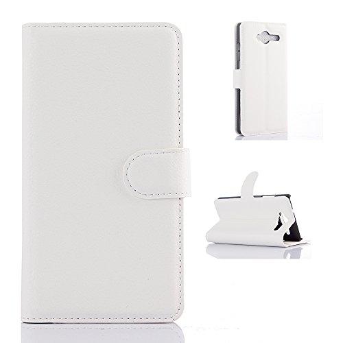 ZTE Blade L3 Handyhülle Book Case ZTE Blade L3 Hülle Klapphülle Tasche im Retro Wallet Design mit Praktischer Aufstellfunktion - Etui Weiß