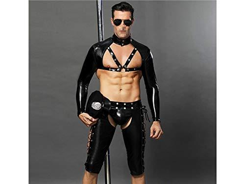 HFjingjing Sexy Kleidung Persönlichkeit Männer Bar Leistung Kostüm Nachtclub Erotische Unterwäsche Versuchung Polizeiuniform Cosplay Kostüm (Größe : Einheitsgröße) (Für Männer Outfits)