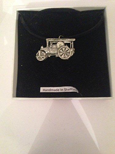 Steam Roller pp-t22English Pewter auf schwarzer Kordel Halskette handgefertigt 41cm -