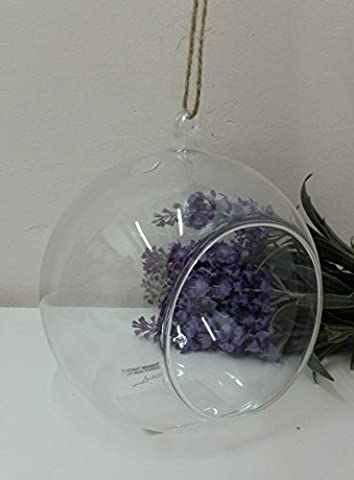 Open Clear Glass Ball Bauble - Ideal For T Light Tea Light Candle Or Decoration With Hanging String by Four Seasons Liverpool