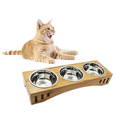 Petilleur Ciotole per Gatti Cani Ceramica Ciotole Gatto Cane con Supporto in bambù Legno (3 Ciotole, Acciaio Inox)