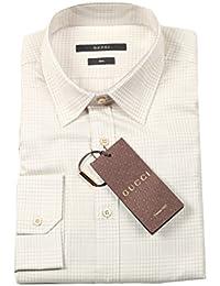 Gucci Cl Checked Beige Dress Shirt Size 39/15,5 U.S.