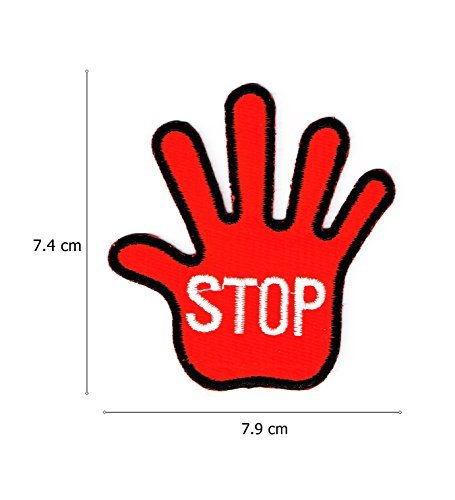 Red Hand Stop Sign Road Prohibit Embroidered Iron on Patch by Hometown