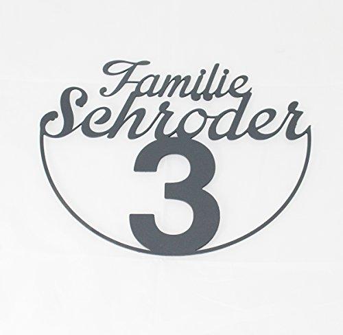 Familienschild Namensschild aus Edelstahl (Design 6) - Thorwa® Design Hausnummer Hausnummernschild mit Wunschschriftzug / Namen / Schriftzug (36cm x 30cm | RAL 7016 Anthrazit)