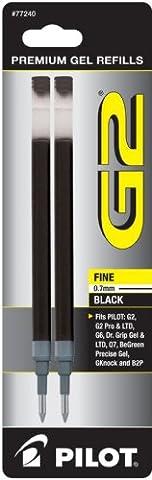 Pilot G2 Gel Ink Refill, 2-Pack for Rolling Ball Pens, Fine Point, Black Ink (77240)