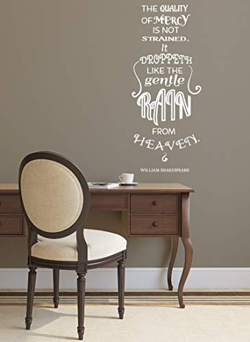 Dozili The Quality Mercy Wandtattoo/Wandaufkleber mit Zitat von William Shakespeare (englischsprachig), Vinyl, 91 x 38 cm
