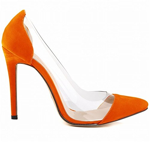 Wealsex Escarpins Suédé Sexy Mode Talon Aiguille Bout Pointu Soirée Mariage Talon 11 Cm Femme Orange
