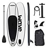 WAVE Inflatable Surfing Paddle Board Soft Surf SUP (10 Foot - White)
