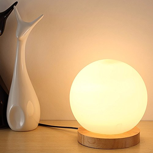 Nautische Outdoor-leuchten (XHOPOS HOME Tischleuchte Tischlampe minimalistische Glas Kreativität wenig Nachtlichter Schlafzimmer Leselampen Nachttischlampe Orb Holz Lampen Rund 12 Cm 7W LED Mini) Tastenschalter)