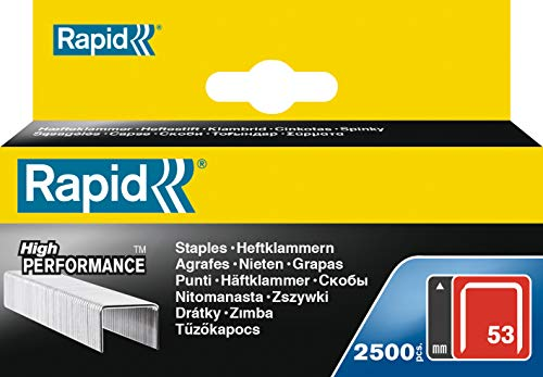 Rapid, 11860425, Agrafes en fil fin N°53, Longueur 14mm, 2500 pièces, Pour le textile et la décoration, Fil galvanisé, Haute performance