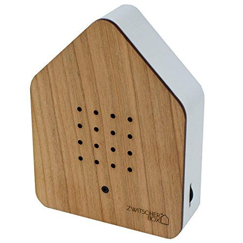 Preisvergleich Produktbild Zwitscherbox - Bewegungsmelder löst Vogelgezwitscher aus. Entspannend, erfrischend. Designobjekt 11 x 15 cm in Kirsche - weiß