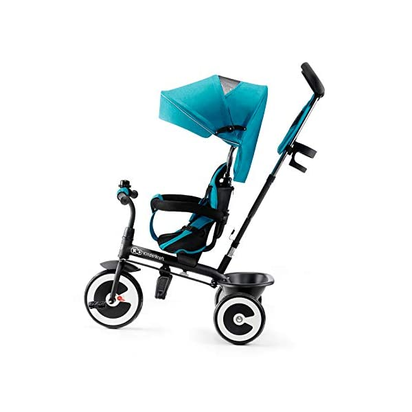 Kinderkraft Aveo KKRASTOTRQ0000 Tricycle with Accessories in 3 Colours Blue kk KinderKraft Five point safety straps for the shoulders and an additional strap between the legs to protect the child from falling out A mechanism that connects the parent handlebar with the child's handlebar so that parents can have full control over the bike guidance when required. Free-wheel that causes the child to rmble freely regardless of the person who leads the bike 6