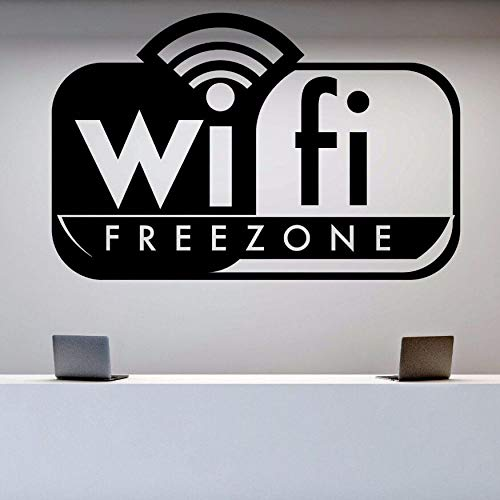 WWYJN Wall Sticker WiFi Free Zone Wall Decal Signboard Stickers for Game Club Office Decor WiFi Free Zone Logo Wall Art Mural White 57x37cm -