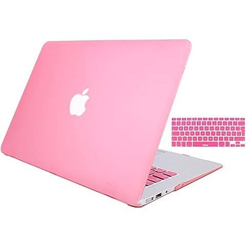 MacBook Air 13 Hülle Case, STONG MacBook Air 13 Hülle Cover Matte Gummierte Harte Schutzhülle für Macbook Air 13'' Case Shell Hard Plastik mattiert SchutzTasche + TPU Tastatur-Schutzfolie (Rosa)