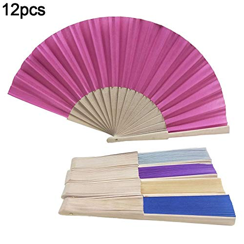 12 piezas de mano abanico abanico colorido de tela abanico ventilador de...