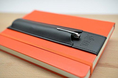 skors Stifthalter ALJAVA für A5 Notizbuch, Kalender oder Bullet Journal mit Hardcover - Kunstleder Schwarz - Stiftehalter A5 Notizbuch (Journal Kunstleder)