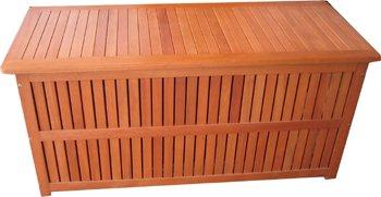 Auflagenbox, Kissenbox, Sitztruhe, massives Eukalyptusholz