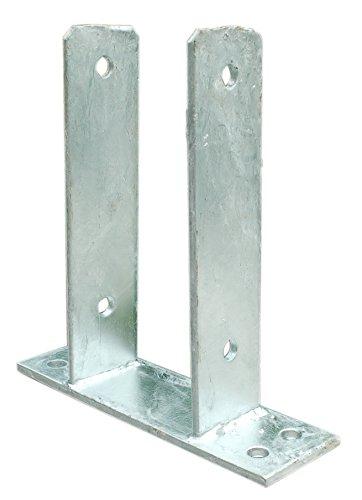 Pfostenträger mit Bodenplatte zum Aufdübeln für Pfosten 9 cm feuerverzinkt 91 mm