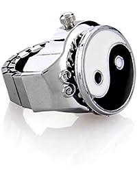 skyllc® Anillo Reloj Metal Redondo Ying Yang Elastico Moda 30 x 19 mm