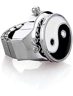 Skyllc® Metall Yin Yang Tai Chi Ring Uhr Gothic Uhrenring Fingeruhr Ringuhr 0.75