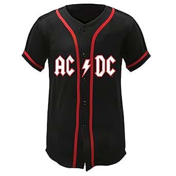 Old Glory Men's AC/DC Lightning Logo Baseball Jersey Black Large