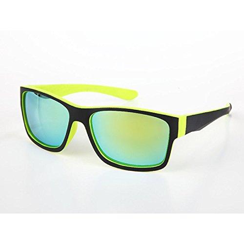 Sonnenbrille Herren verspiegelt 400 UV schwarz farbig kantig groß gelb