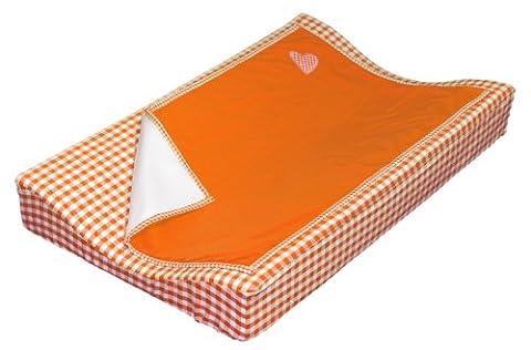 Taftan Hearts Checks Changing Pad Cover Set 72 x 44cm (Orange)